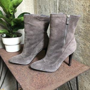 Coach Fur-Lined Suede Heel Boots